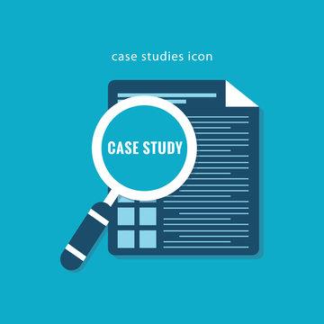Case Studies Icon flat design on blue color