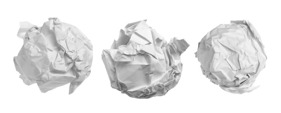 Set white crumpled paper ball isolated on white background, clipping path