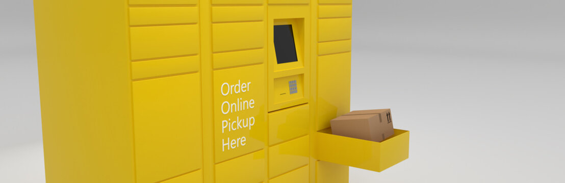 Order online service delivery pickup self-service locker, grocery, parcel delivery shipping, distribution, drop off and hub banner 3D rendering