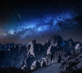 Tuinposter Europa Milky way over mountains trail to Tre Cime, Dolomites