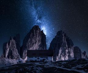 Wall Mural - Milky way over Dreizinnen hut in Tre Cime, Dolomites