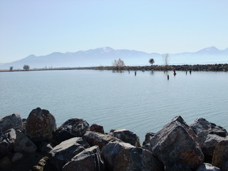 Krajobraz - USA - jezioro i góry 1
