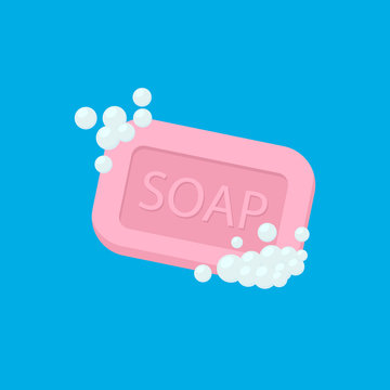 Bar of soap with foam isolated on white background. Vector illustration.