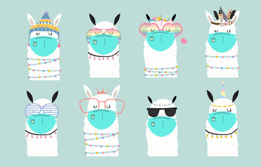 Cute animal object collection with llama wear mask.Vector illustration for prevention the spread of bacteria,coronviruses Wall mural