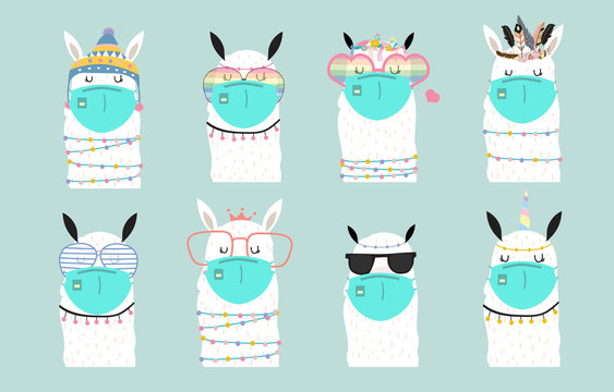 Cute animal object collection with llama wear mask.Vector illustration for prevention the spread of bacteria,coronviruses