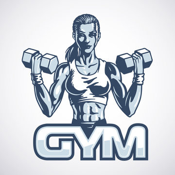 Athletic young fitness woman with dumbbells. Vector illustration.