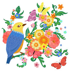 Ingelijste posters Papegaai colorful invitation card with happy bird sitting on flowering br
