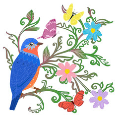 Ingelijste posters Papegaai cute blue bird sitting on twigs of green leaves ornament surroun