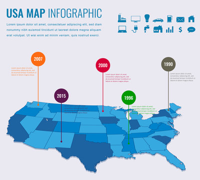 Usa map infographic template. 3d isometric Vector
