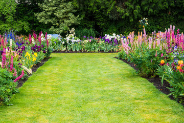Aluminium Prints Garden A green, grassy lawn surrounded by beds of beautiful, colorful flowers