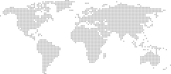 Dotted world map on white background. World map template with continents, North and South America, Europe and Asia, Africa and Australia