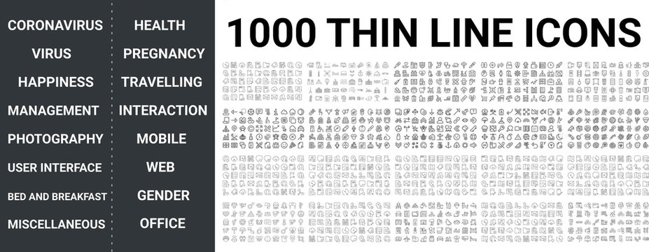 Big set of 1000 thin line icon. Coronavirus, virus, health, happiness, pregnancy, travelling, office, mobile, web, miscellaneous, food, management, photography, user interaction, gender icons, ui pack