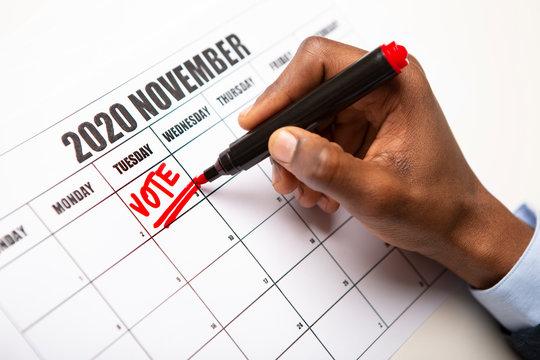 Calendar US General Election Day Circled November 3th 2020