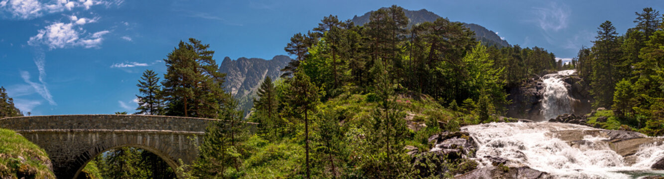 Nice landscape of Pont D´Espagne in the French Pyrenees, Trip to Cauterets, France.