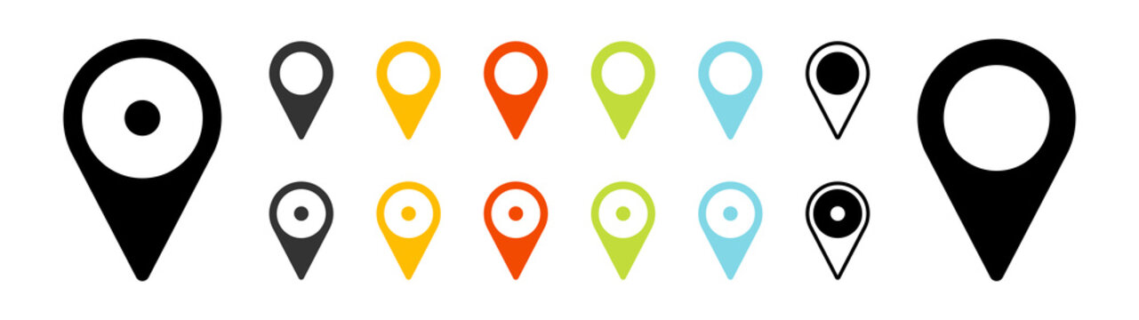 GPS location icons set. Map pointer. Vector isolated elements.