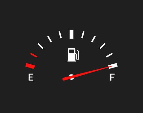 Fuel indicators gas meter. Gauge vector tank full icon. Car dial petrol gasoline dashboard