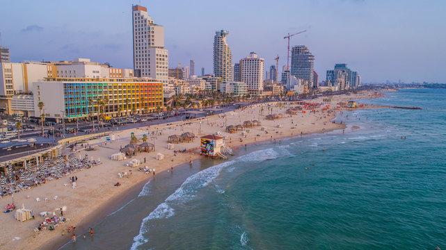 Tel aviv promenade, Israel, aerial drone view