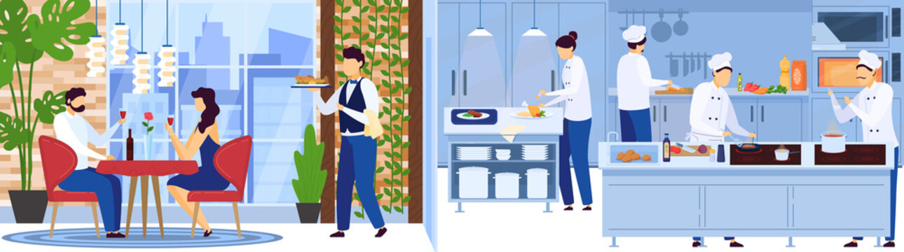 Restaurant chef team cooking in kitchen, waiter serves people on romantic date vector illustration. Man and woman couple celebrate anniversary in luxury restaurant. Professional cook cartoon character