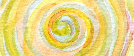 Poster Spirale Watercolor painting. Canvas texture horizontal background.