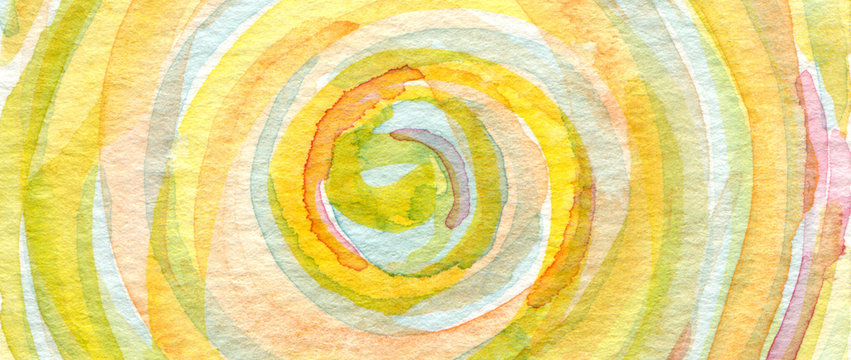 Watercolor painting. Canvas texture horizontal background.