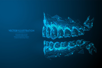 Healthy man jaw, mouth close-up view from the side. Correct bite, occlusion, molar. Concept of dentistry, orthodontics, dentist, wisdom tooth. 3d low poly wireframe vector illustration.
