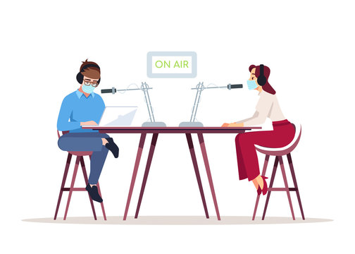 Radio podcast in coronavirus pandemic semi flat RGB color vector illustration. Talk show host and guest in surgical masks isolated cartoon characters on white background. Interview with medical expert