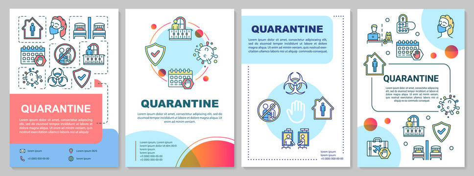 Quarantine, self-isolation and health care brochure template. Flyer, booklet, leaflet print, cover design with linear icons. Vector layouts for magazines, annual reports, advertising posters