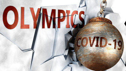 Covid and olympics,  symbolized by the coronavirus virus destroying word olympics to picture that the virus affects olympics and leads to recession and crisis, 3d illustration