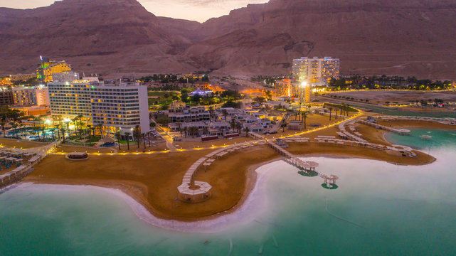 Dead sea in Israel, aerial drone view