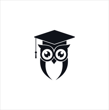 Smart owl education icon logo design template