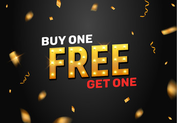 Buy one get one free sale offer design. Vector promo buy 1 get one free banner promotion