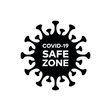 """Corona virus """"Covid-19"""" pandemic safe zone isolated vector icon for web and mobile"""