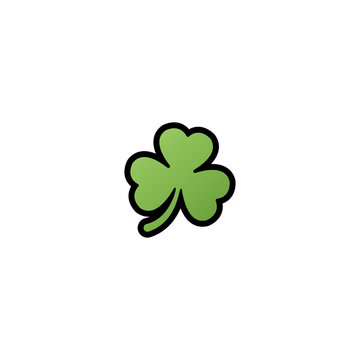 Three Leaf Clover Isolated Realistic Vector Icon. Clover Illustration Icon
