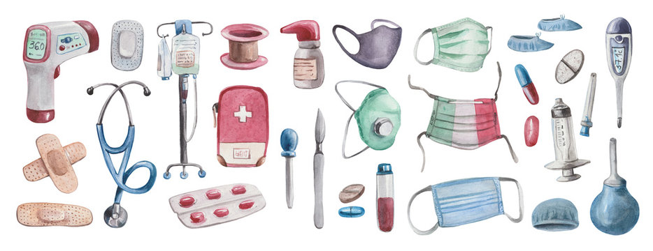 Large watercolor set on the theme of health. The kit includes drugs, diagnostic equipment, a medical tool, as well as things for first aid. Elements on a white background, stylized as real doctoral th