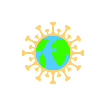 """Global Corona virus """"Covid-19"""" pandemic with earth inside isolated vector icon for web and mobile"""
