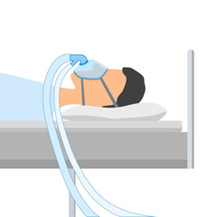 A man lies on a bed with a mask for artificial ventilation of the lungs from coronavirus disease. CPAP. Oxygen mask with two tubes. Flat cartoon illustration. Isolated vector EPS10.