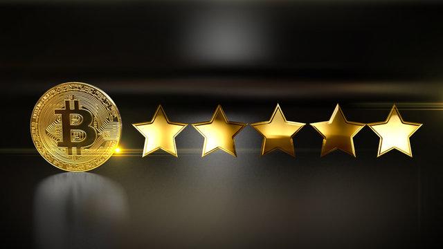 Review rate 5 star  social media style 4k. illustration.