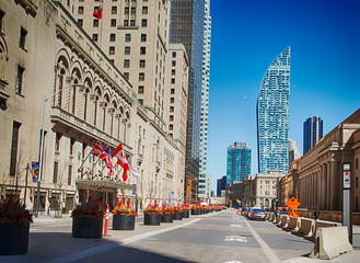 Downtown Toronto during Coronavirus pandemic. Empty streets of Toronto during rush our