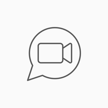 video chat icon, video call vector
