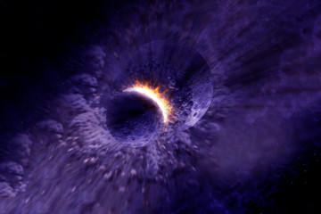 The asteroid crashes into the planet. Elements of this image were furnished by NASA.