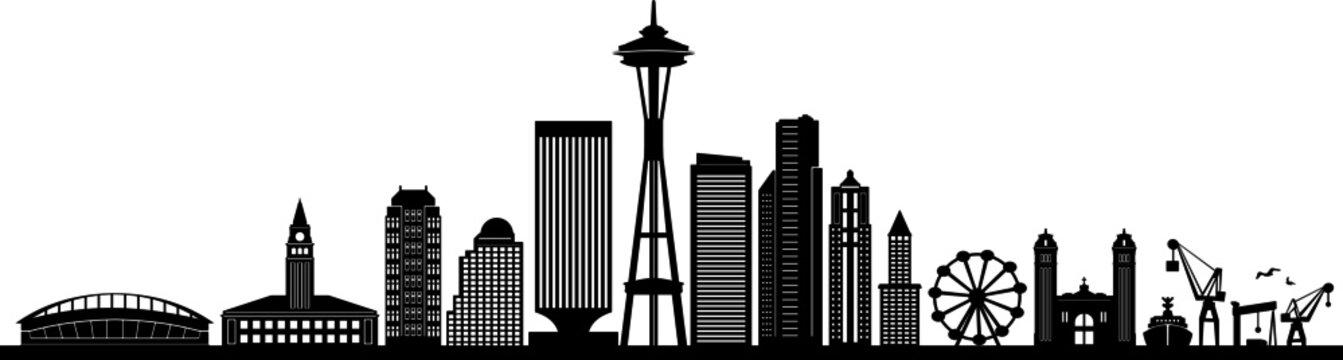 SEATTLE City Skyline Silhouette Cityscape Vector