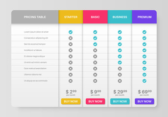 Pricing tab. Comparison pricing list, services cost table. Menu planning compare products tariff plans infographics vector template