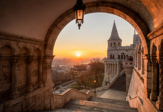 The north gate of the Fisherman's Bastion at morning winter light in Budapest, Hungary