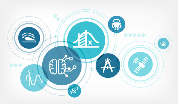 Applied mathematics / physics & engineering vector illustration. Abstract concept with connected icons related to STEM subjects, science education and scientific formulas.