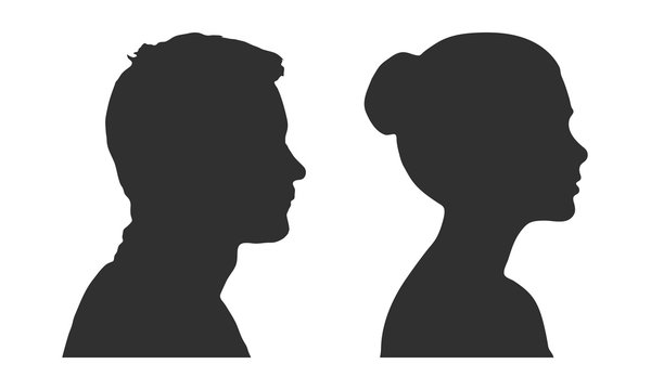 Silhouette of a man and a woman in profile. Isolated vector on white background.