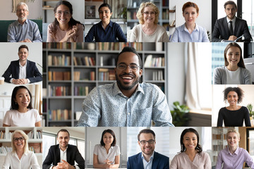 Many portraits faces of diverse young and aged people webcam view, while engaged in videoconference...