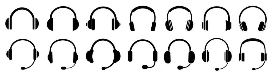 Headphones icons set, music sign – stock vector