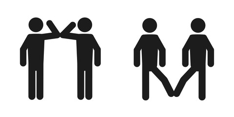 Elbow bump and foot tap icon. New greeting to avoid the spread of coronavirus. Two friends meet, instead of greeting with a hug or handshake, they bump elbows instead or touch their feet together