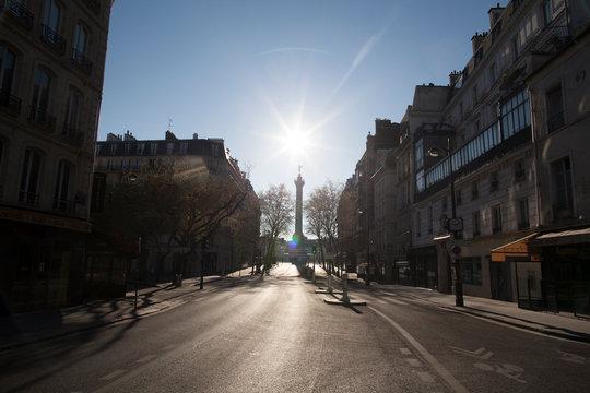 rue de paris arrivant place de la Bastille, sans personne, sans circulation pendant le confinement du au Coronavirus