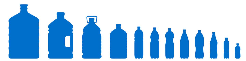 Set of plastic bottle icons isolated on white background. Plastic bottles of various sizes. Contours of bottles for water, lemonade – vector